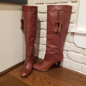 Brown Knee High heeled boots with tassles
